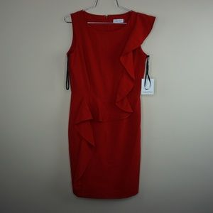 Calvin Klein Womens Solid Red Ruffle Front Sheath